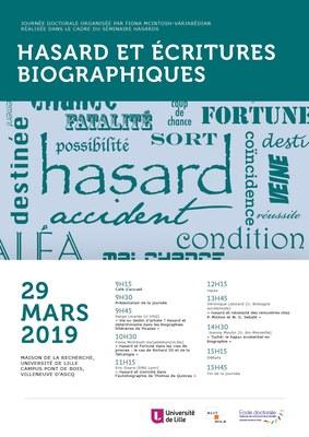 """Affiche """"Hasard et écritures biographiques"""""""